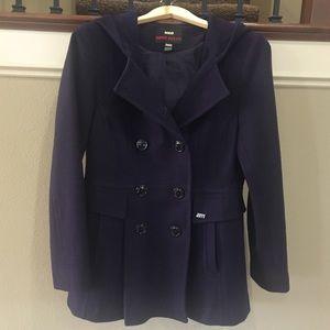 Miss Sixty Purple Wool Pea Coat